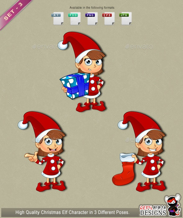 Girl Elf Character In Red – Set 3 - People Characters