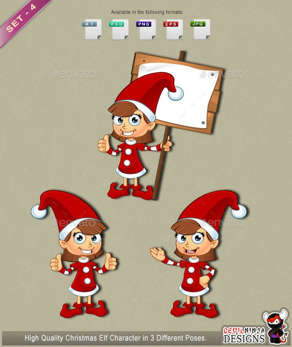 Girl Elf Character In Red – Set 4 - People Characters