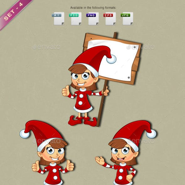 Girl Elf Character In Red – Set 4