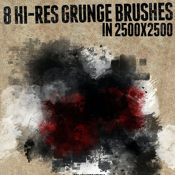 8 Hi-res Grunge Brushes