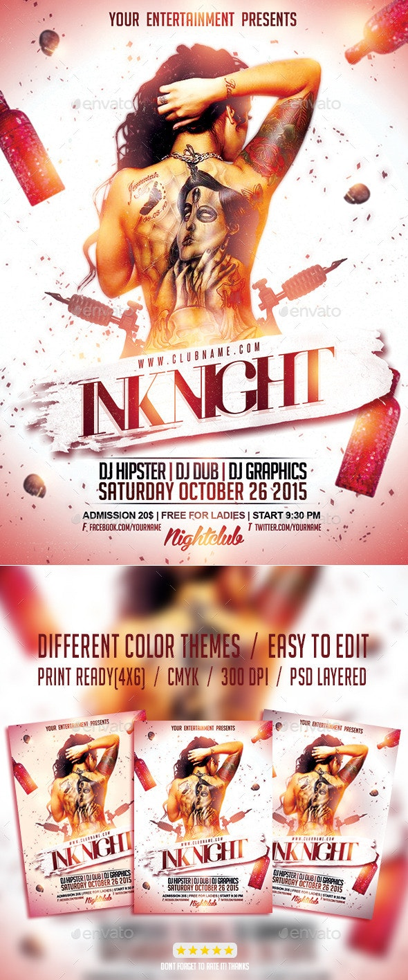 Ink Tattoo Night PSD Flyer Template - Events Flyers