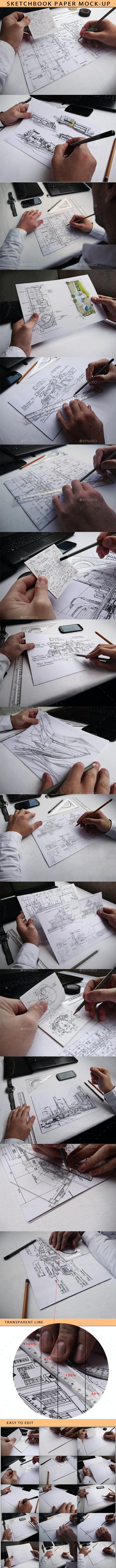 Sketchbook Paper Mock-Up  - Product Mock-Ups Graphics