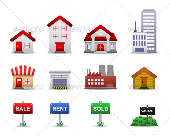 Property Real Estates Icon - Buildings Objects