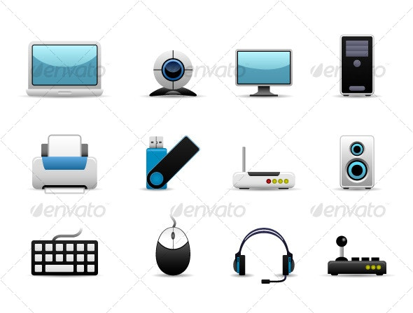 Computer Set Icon Vector - Man-made Objects Objects