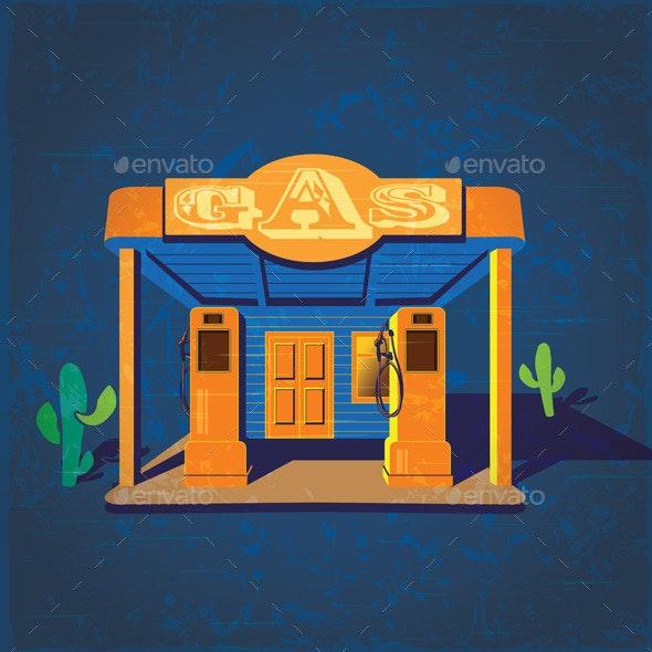 Old Gas Stations - Conceptual Vectors
