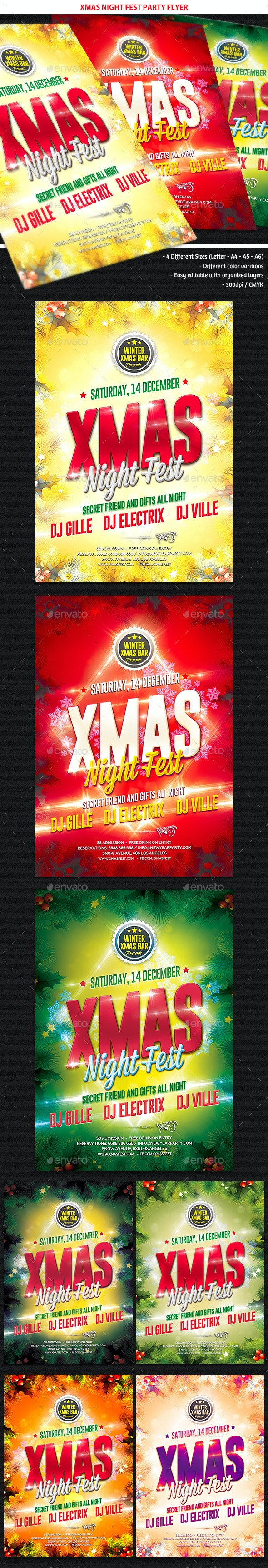 Xmas Night Fest Party Flyer - Holidays Events