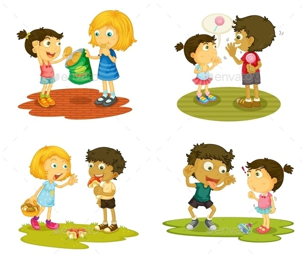 Kids with Various Activities - People Characters