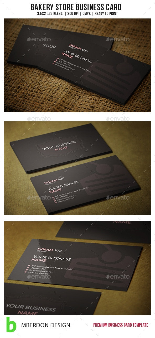 Bakery Store Business Card - Industry Specific Business Cards