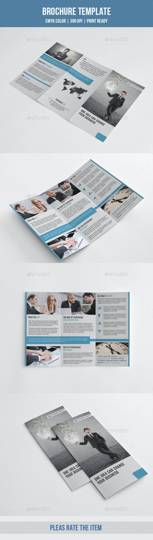 Minimal Trifold Business Brochure-V188 - Corporate Brochures