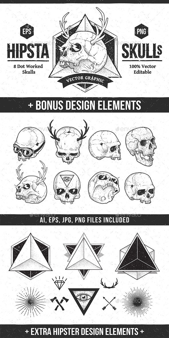 Hipsta Skulls - Tattoos Vectors