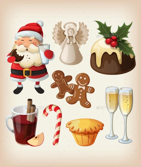 Set of Christmas Festive Food. - Christmas Seasons/Holidays