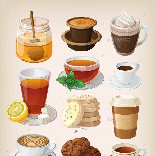 Set of Hot Drinks and Desserts