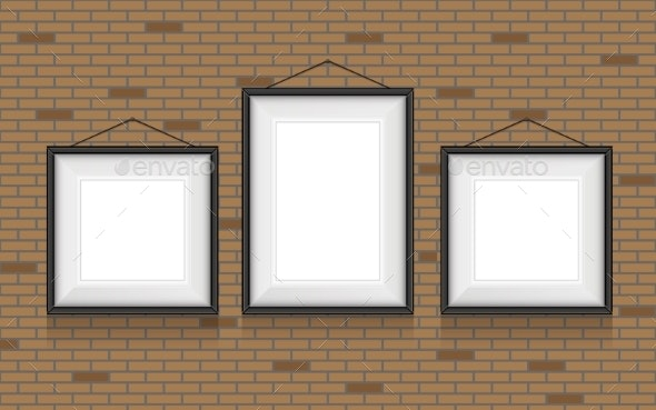 Collage of Picture Frames on the Brick Wall - Objects Vectors