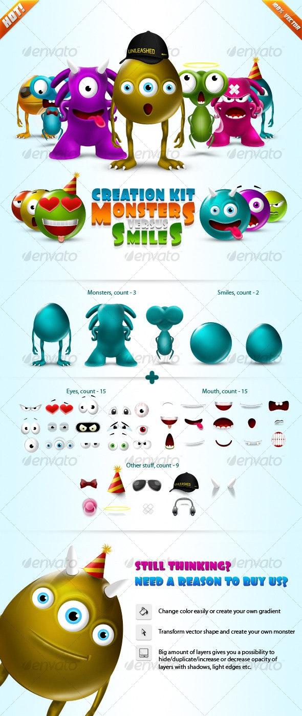 Monsters vs Smiles - Super Creation Kit  - Backgrounds Graphics