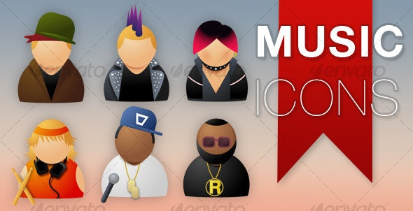 Musician Icons - People Characters