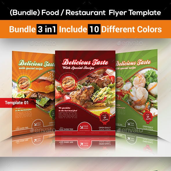 Food / Restaurant  Flyer Template (Bundle 3 in 1)