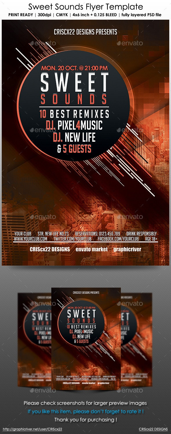 Sweet Sounds Flyer Template - Clubs & Parties Events
