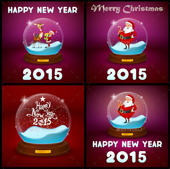 Glass Bowl Statuette Set With New Year - Christmas Seasons/Holidays