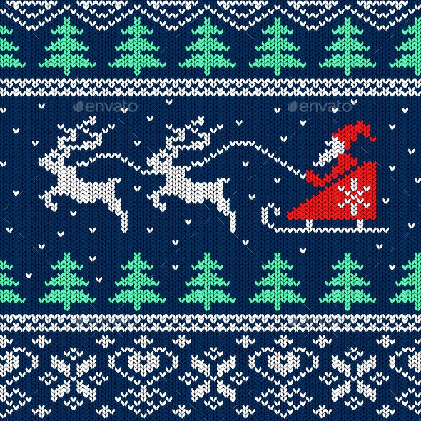 Christmas Knitted Seamless Pattern with Santa - Seasons/Holidays Conceptual