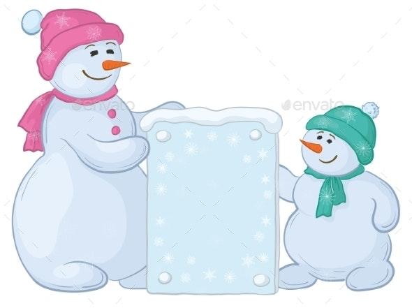 Snowmens with Sign - Christmas Seasons/Holidays