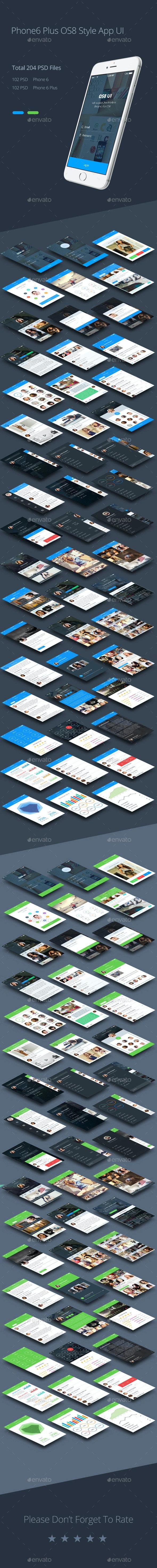 Phone 6 Plus OS 8 Style App UI Templates - User Interfaces Web Elements