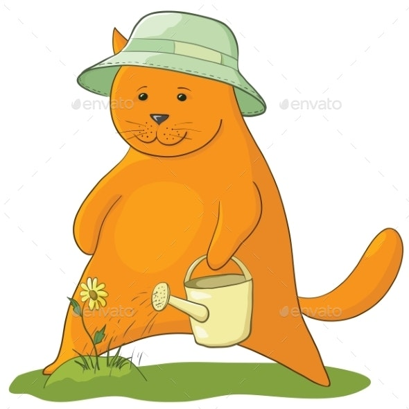 Cat Watering a Flower - Animals Characters