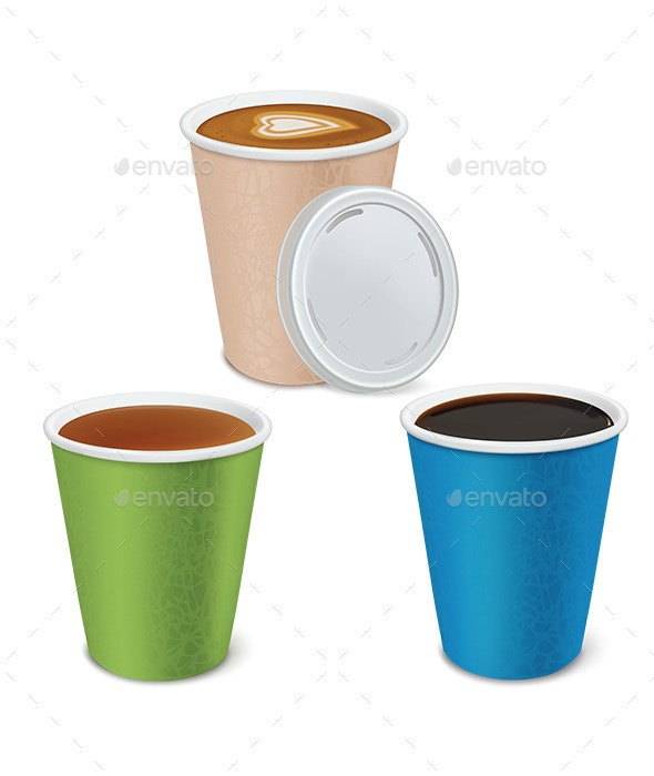 Tea, Cappuccino, Coffee in Paper Cups - Food Objects