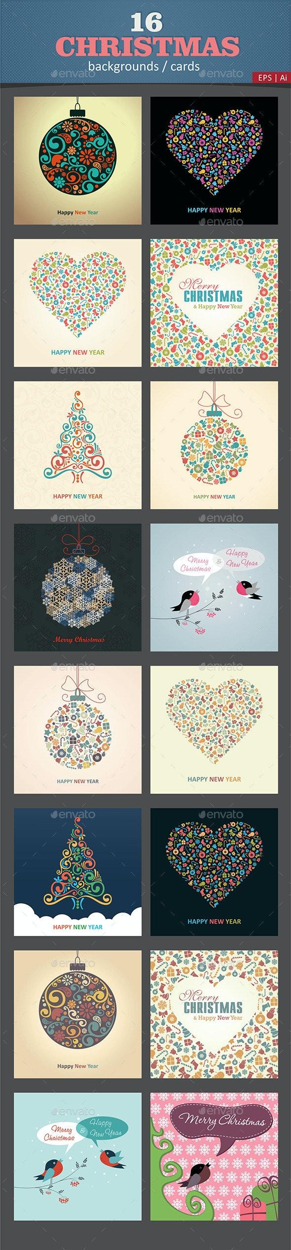 16 Christmas Cards / Backgrounds Vector - Christmas Seasons/Holidays