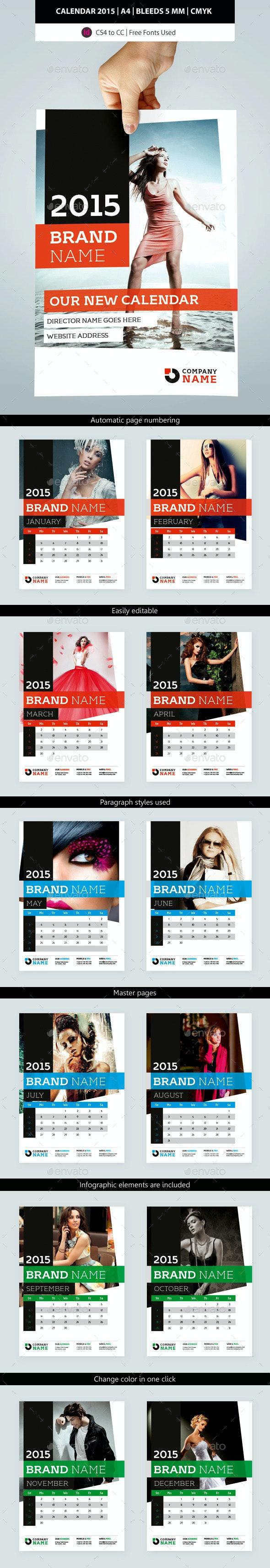2015 Wall Calendar Template Design - Calendars Stationery