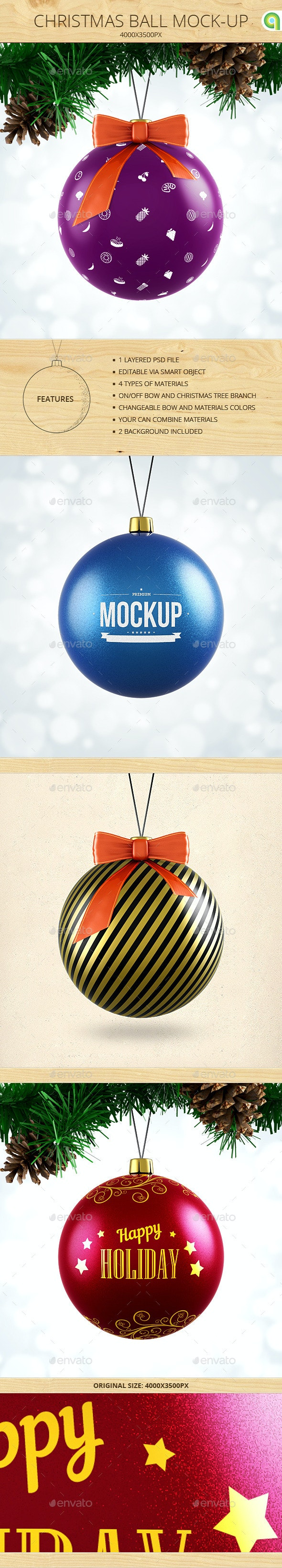 Christmas Ball Mock-Up - Miscellaneous Product Mock-Ups