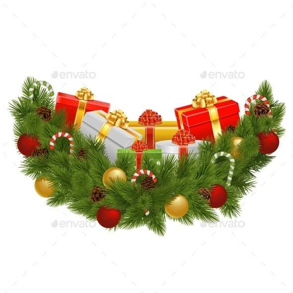 Vector Christmas Decoration with Gifts - Christmas Seasons/Holidays