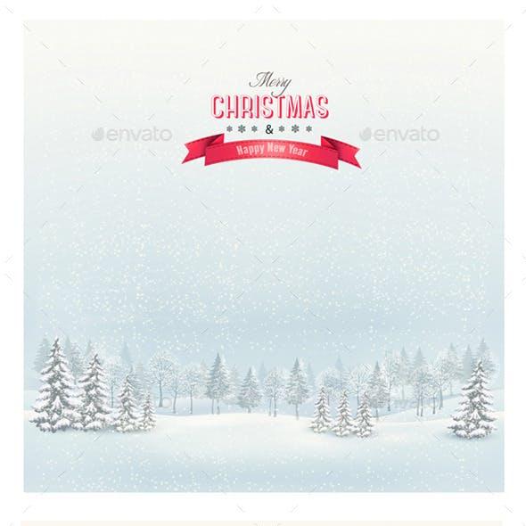 Christmas Winter Landscape Backgrounds Bundle