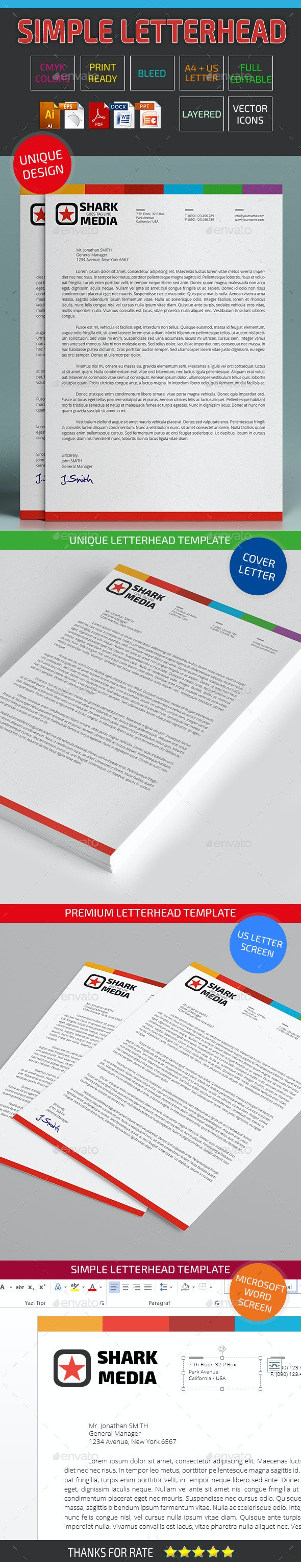 Simple Letterhead Template 02 - Stationery Print Templates