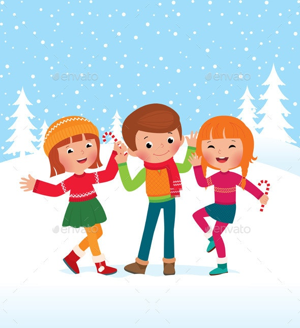 Children are Winter Day - Christmas Seasons/Holidays