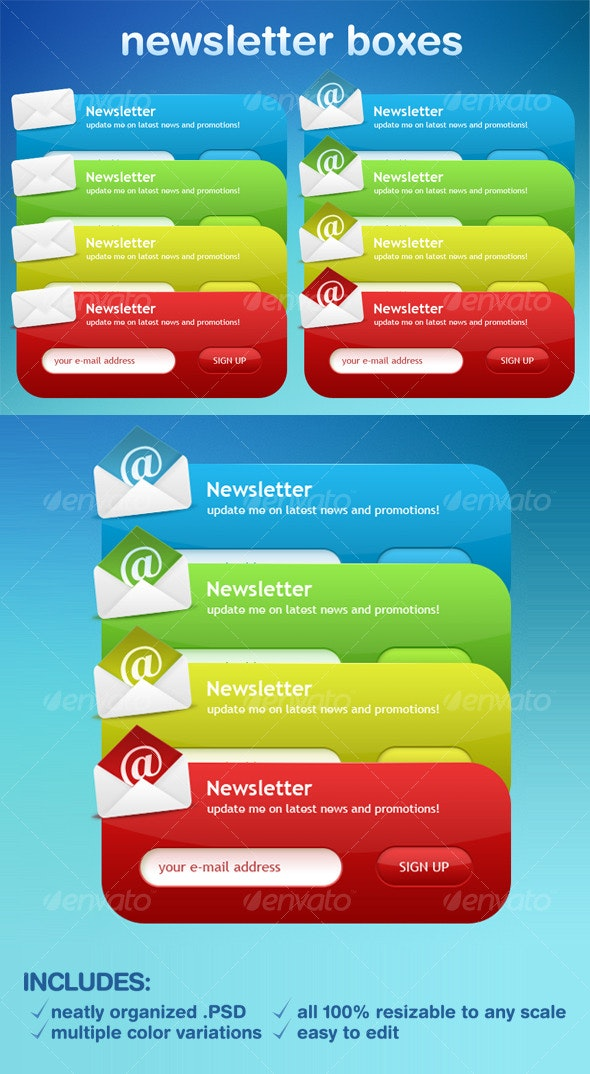 Newsletter Boxes - Forms Web Elements