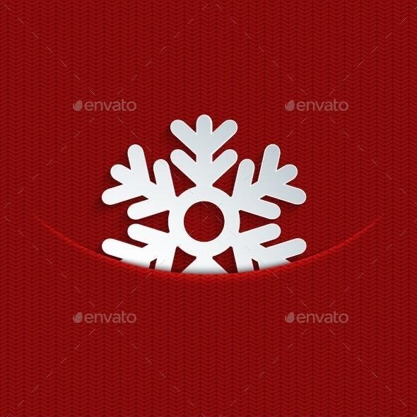Snowflake on Knitting - Christmas Seasons/Holidays
