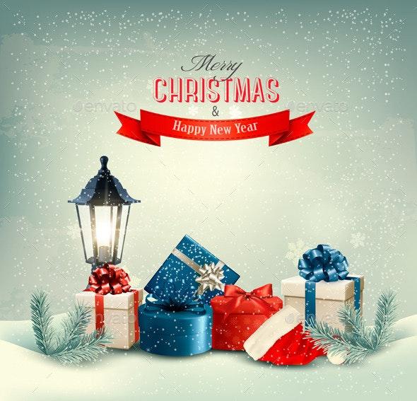 Christmas Background with Presents - Christmas Seasons/Holidays