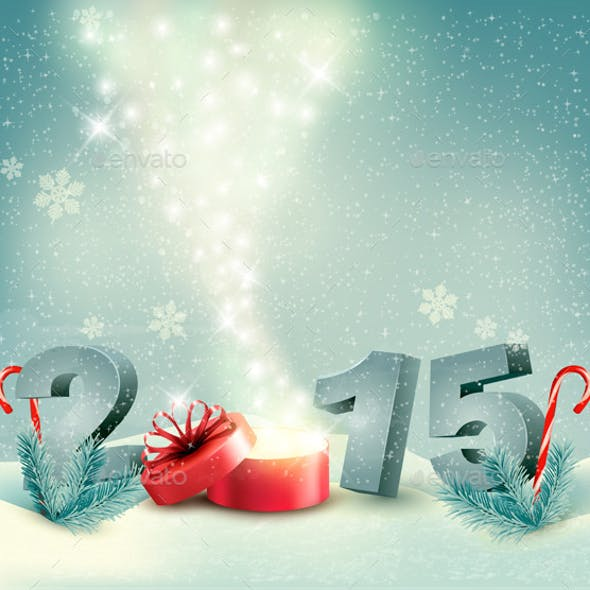Holiday Background with a Gift Box and 2015