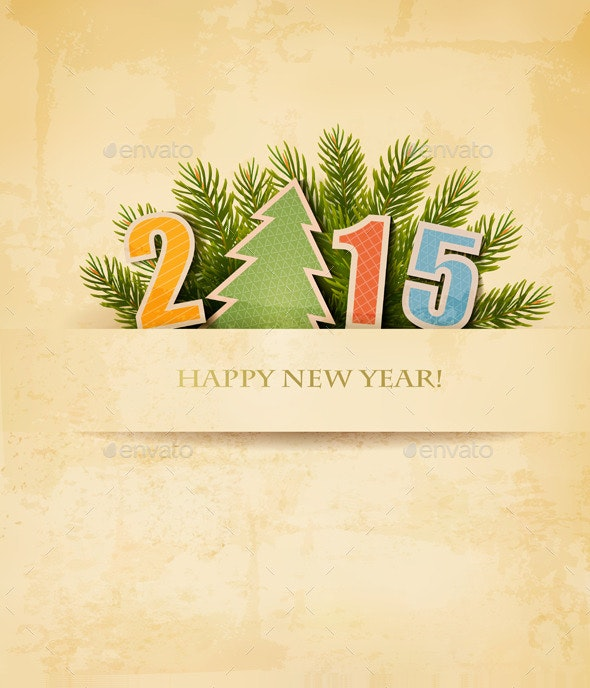 2015 with a Christmas Tree - New Year Seasons/Holidays