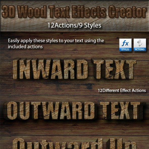 3D Wood Text Effects Creator Kit