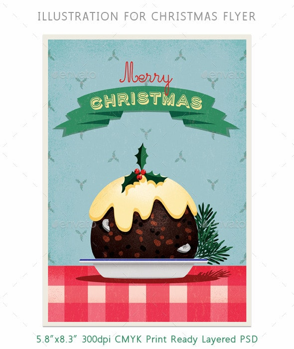 Christmas Pudding Flyer or Card Illustration - Miscellaneous Illustrations