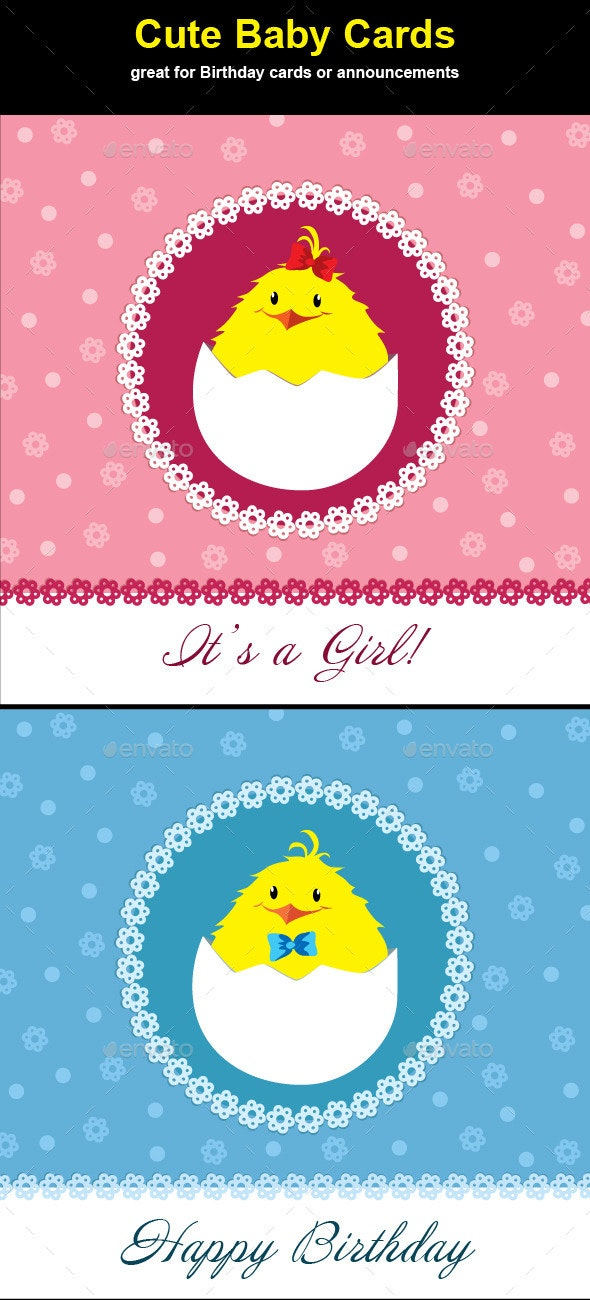 Cute Chick Baby Cards - Backgrounds Decorative