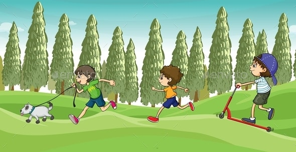 Children running with a Dog - People Characters
