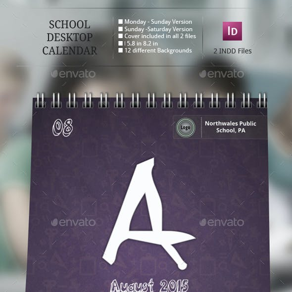 School Desk Calendar Templates