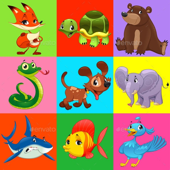 Set of Animals with Background.  - Animals Characters