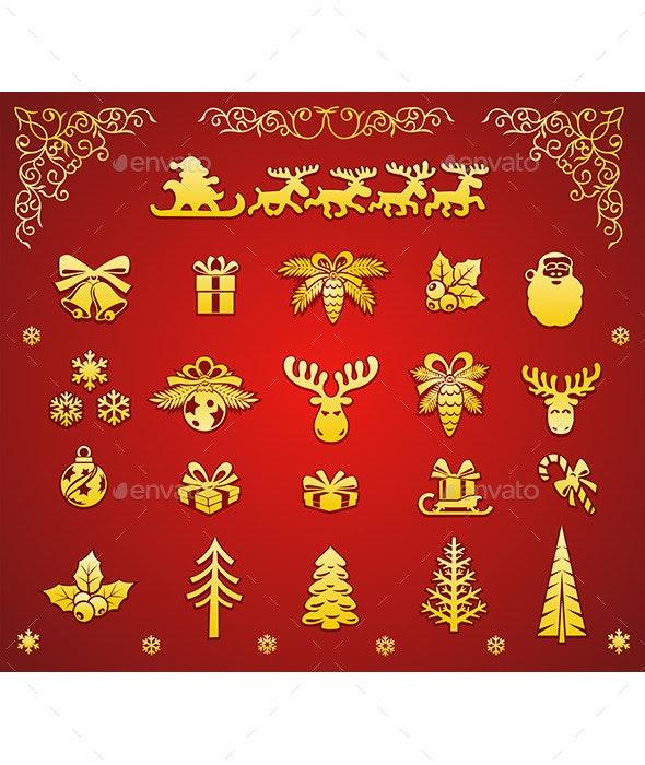 Christmas Golden Decorative Elements Set  - Christmas Seasons/Holidays