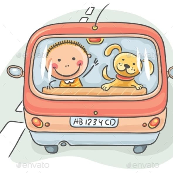 Child and Dog in the Car