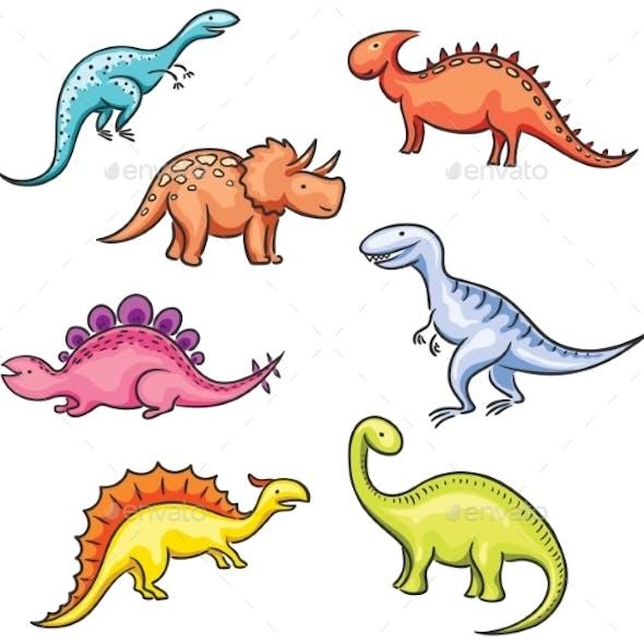 Cartoon Colorful Dinosaurs