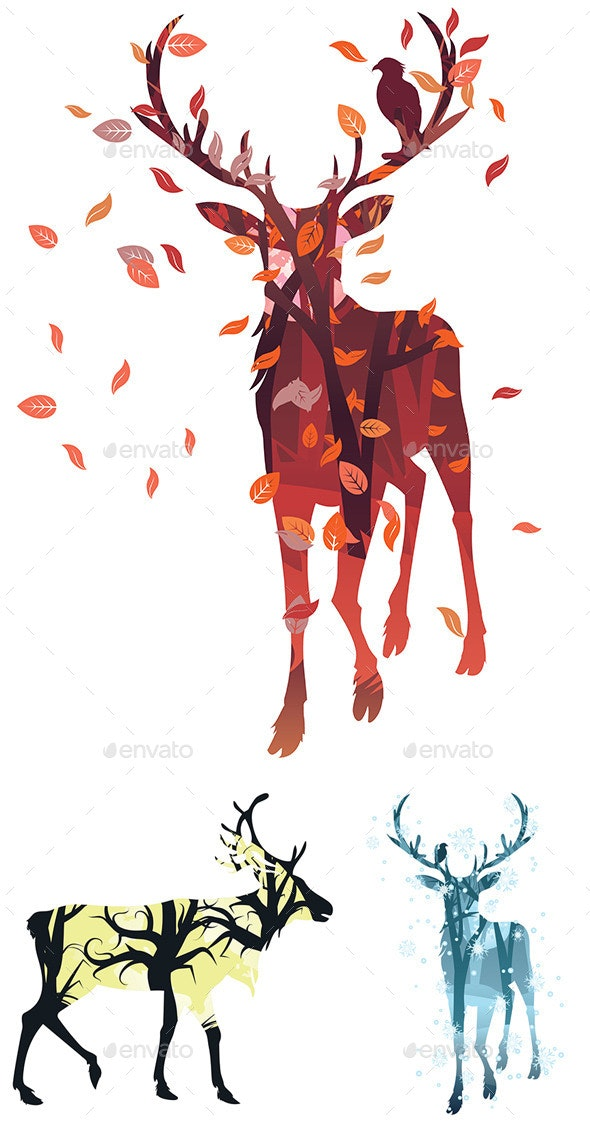 Stag Silhouette with Forest - Animals Characters