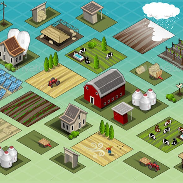 Isometric Farm Set Tiles